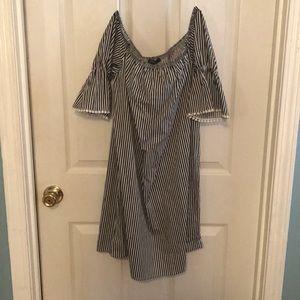 Black-and-white Stripe Off-shoulder Dress